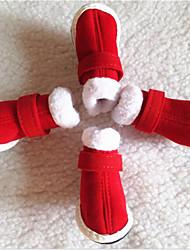 Недорогие -Собака Ботинки и сапоги На плоской подошве Зимние сапоги Однотонный Для домашних животных Ткань Красный / Зима