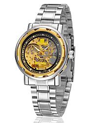 Недорогие -Муж. Часы со скелетом / Механические часы Защита от влаги / С гравировкой сплав Группа Серебристый металл / С автоподзаводом