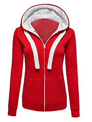 cheap -Women's Hoodie Color Block Solid Colored Street chic Hoodies Sweatshirts  Cotton Black Blue Red / Fall / Winter / Going out