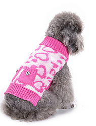 cheap -Dog Sweater Winter Dog Clothes Pink Costume Acrylic Fibers Heart Casual / Daily XXS XS S M L XL