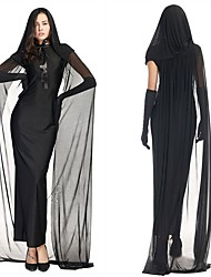 cheap -Ghost Dress Women's Halloween Day of the Dead Festival / Holiday Black Women's Carnival Costumes Solid Color / Gloves / Cloak
