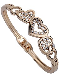 cheap -Women's Synthetic Diamond Cuff Bracelet Heart Personalized Classic Rhinestone Bracelet Jewelry Gold For Party Daily