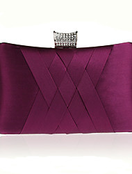 cheap -Women's Bags PU Leather Silk Evening Bag Crystals Wedding Bags Wedding Party Event / Party Wine Black Purple Red