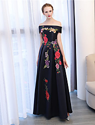 cheap -A-Line Off Shoulder Floor Length Satin / Satin Chiffon Floral / Black Formal Evening / Wedding Guest Dress with Appliques / Embroidery 2020