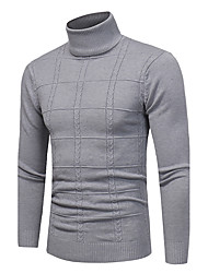 cheap -Men's Daily / Weekend Vintage / Casual Plaid Long Sleeve Plus Size Slim Regular Pullover Sweater Jumper, Turtleneck Fall / Winter Black / Light gray / White M / L / XL