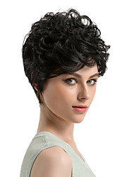 cheap -Synthetic Wig Curly Curly Wig Short Black#1B Synthetic Hair Women's African American Wig Black MAYSU