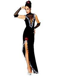 cheap -Queen Goddess Cosplay Costume Masquerade Women's Christmas Halloween Carnival Festival / Holiday Poly / Cotton Black Women's Carnival Costumes Solid Color Hollow / Gloves / Headwear