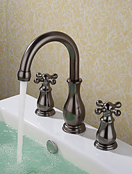 cheap -Widespread Ceramic Valve Three Holes Oil-rubbed Bronze, Bathroom Sink Faucet