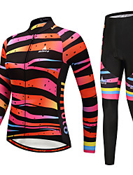 cheap -Miloto Women's Long Sleeve Cycling Jersey with Tights Green Black / Orange Yellow Bike Clothing Suit Winter Sports Horizontal Stripes Mountain Bike MTB Road Bike Cycling Clothing Apparel / Stretchy