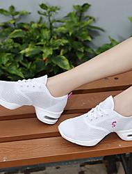 cheap -Women's Dance Shoes Tulle Dance Sneakers Sneaker Flat Heel White / Black / Fuchsia / Performance / EU40