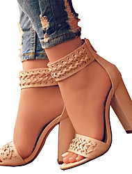 cheap -Women's Sandals Open Toe Zipper PU Comfort / Novelty Spring / Summer Black / Beige / Wedding / Party & Evening / Party & Evening / EU42