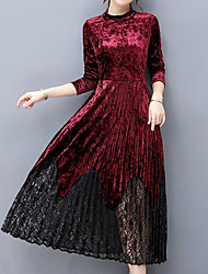 cheap -Women's Velvet Plus Size Going out A Line Dress - Solid Colored Lace Trims Fall Velvet Green Black Wine XL XXL XXXL
