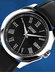cheap -Men's Fashion Watch Dress Watch Wrist Watch Quartz Leather Analog Black Brown Black / Silver