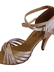 cheap -Women's Dance Shoes Satin Latin Shoes Sandal Customized Heel Black / Navy / Almond / Indoor