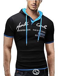cheap -Men's Graphic Letter T-shirt - Cotton Daily Hooded Black / Blue / Red / Royal Blue / Dark Gray / Light Blue / Short Sleeve
