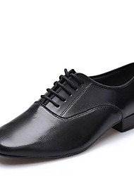 cheap -Men's Latin Shoes / Ballroom Shoes Leather Lace-up Heel Low Heel Dance Shoes Black / Indoor / EU43