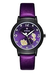 Недорогие -Жен. Модные часы Кварцевый Кожа Черный / Красный / Фиолетовый Аналоговый Черный Лиловый Красный