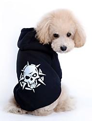 cheap -Dog Sweatshirt Winter Dog Clothes Black Red Costume Terylene Skull Casual / Daily Keep Warm Halloween XS S M L XL