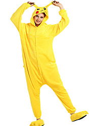 cheap -Adults' Halloween Props Holiday Jewelry Kigurumi Pajamas Pika Pika Onesie Pajamas Flannel Toison Yellow Cosplay For Men and Women Animal Sleepwear Cartoon Festival / Holiday Costumes