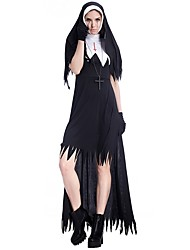 cheap -Nun Dress Cosplay Costume Masquerade Women's Halloween Carnival New Year Festival / Holiday Poly / Cotton Black Women's Carnival Costumes Solid Color Vintage / Gloves / Hat