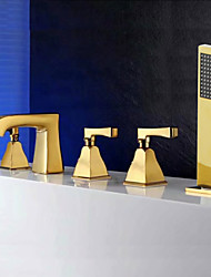 cheap -Tub And Shower Ceramic Valve Three Handles Five Holes Gold, Bathtub Faucet