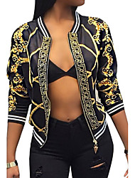 cheap -Women's Daily / Going out / Weekend Vintage / Street chic Spring / Fall Short Jacket, Tribal V Neck Polyester Print White / Black