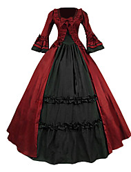 cheap -Victorian Medieval 18th Century Dress Party Costume Masquerade Women's Lace Cotton Costume Red Vintage Cosplay Party Prom Long Sleeve Long Length Ball Gown
