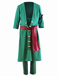 Недорогие -Вдохновлен One Piece Roronoa Zoro Аниме Косплэй костюмы Японский Косплей Костюмы Однотонный Пальто / Брюки Назначение Муж.