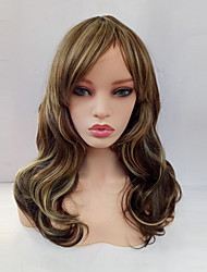 cheap -With Bangs Wig Blonde Medium Length Rainbow Synthetic Hair Women's Blonde