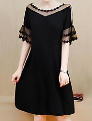cheap -Black Dress Women's Plus Size Party Shift Dress Solid Colored Summer XXXL XXXXL XXXXXL