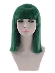cheap -Synthetic Wig Straight Straight Bob With Bangs Wig Blonde Short Medium Length Brown Grey Strawberry Blonde White Blue Synthetic Hair Women's Natural Hairline Blonde Green