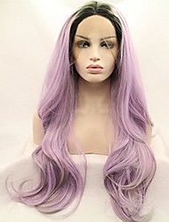 cheap -Synthetic Lace Front Wig Lace Front Wig Medium Length Long Purple Synthetic Hair Women's Purple / Ombre Hair / Natural Hairline