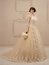 cheap -Ball Gown Wedding Dresses Halter Neck Chapel Train Lace Tulle Spaghetti Strap Glamorous Illusion Detail with Crystal Beading Appliques 2020