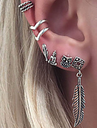 cheap -Women's Clip on Earring Mismatch Earrings cuff Leaf Owl Star Ladies Personalized Vintage Fashion Earrings Jewelry Silver For Birthday Gift Daily Casual Club 6pcs