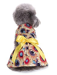 cheap -Cat Dog Dress Tuxedo Christmas Dog Clothes Yellow Costume Cotton Floral / Botanical Party Casual / Daily Wedding XS S M L