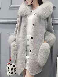 cheap -Women's Going out Street chic Winter Long Fur Coat, Solid Colored Hooded Long Sleeve Faux Fur / Lamb Fur Red / Gray