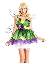 cheap -Tinker Bell Dress Wings Masquerade Women's Christmas Halloween Carnival Festival / Holiday Spandex Green Women's Carnival Costumes Solid Color Fashion