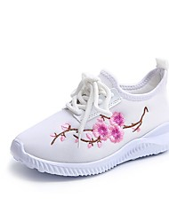 cheap -Girls' Comfort / Light Soles Tulle Sneakers Little Kids(4-7ys) Lace-up / Flower White / Black / Fuchsia Spring / Fall / TPU (Thermoplastic Polyurethane)