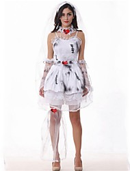cheap -Zombie Bride Dress Masquerade Women's Halloween Carnival Day of the Dead Festival / Holiday Synthetic Textile Fibres Gray Women's Carnival Costumes Print Novelty / Headwear