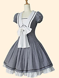 cheap -Princess Sweet Lolita Dress Women's Girls' Cotton Japanese Cosplay Costumes Black Plaid / Check Short Sleeve Knee Length