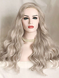 cheap -Synthetic Lace Front Wig Wavy Wavy Lace Front Wig Long Silver Synthetic Hair Women's Gray Uniwigs
