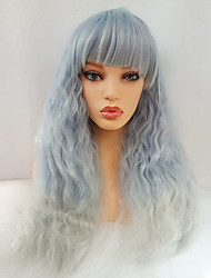 cheap -With Bangs Wig Long Sky Blue Synthetic Hair Women's Blue / Ombre Hair