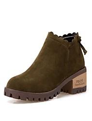 cheap -Women's Suede Fall Combat Boots Boots Round Toe Mid-Calf Boots Zipper Black / Brown / Green