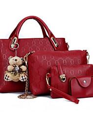 cheap -Women's Bags PU Leather Bag Set 4 Pieces Purse Set Zipper Bag Sets Casual Black Blue Red Yellow