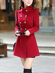 cheap -Women's Daily Basic Fall Regular Coat, Solid Colored Stand Long Sleeve Polyester Red / Wine / Army Green