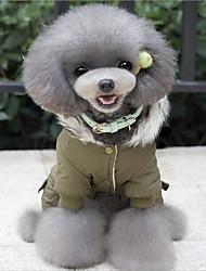 Недорогие -Рождество Зима Одежда для собак Зеленый Хаки Костюм Хлопок Мультипликация На каждый день Сохраняет тепло S M L
