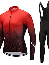 cheap -FUALRNY® Men's Long Sleeve Cycling Jersey with Bib Tights Winter Fleece Black / Red Purple Orange Gradient Bike Clothing Suit Fleece Lining Sports Gradient Mountain Bike MTB Road Bike Cycling