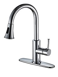 cheap -Kitchen faucet - Single Handle One Hole Chrome Deck Mounted Simple / Classic Style Kitchen Taps / Brass / CUPC / UPC