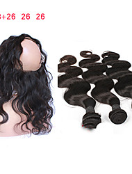 cheap -3 Bundles with Closure Mongolian Hair Body Wave Remy Human Hair Human Hair Weaves 8a Human Hair Extensions