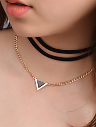 cheap -Women's Layered Necklace Ladies Personalized Simple Style Fashion Flannelette Alloy Gold Necklace Jewelry For Gift Casual